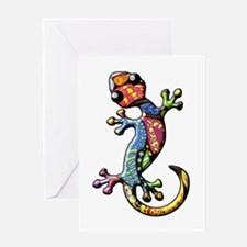 Calico Paisley Lizards Greeting Card