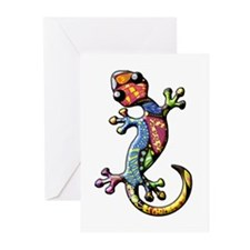 Calico Paisley Lizards Greeting Cards (Pk of 10)