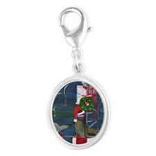 Christmas Seal Silver Oval Charm
