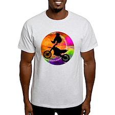 Motocross Jump in Fire Circles T-Shirt
