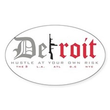 Detroit Tommy Gun Oval Decal
