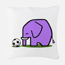 Soccer Elephant(1) Woven Throw Pillow