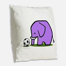 Soccer Elephant(1) Burlap Throw Pillow