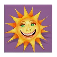 """""""Today's Weather: Happy"""" Sun Tile Coaster"""