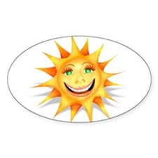 """Today's Weather: Happy"" Sun Oval Decal"