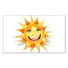 """Today's Weather: Happy"" Sun Sticker (Rect.)"