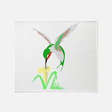 Green Hummingbird Throw Blanket