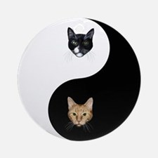 Black Cat & Tabby Yin Yang Ornament (Round)