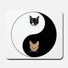 Black Cat & Tabby Yin Yang Mousepad