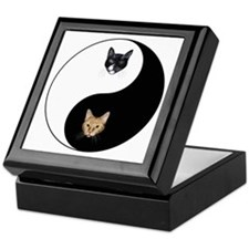 Black Cat & Tabby Yin Yang Keepsake Box