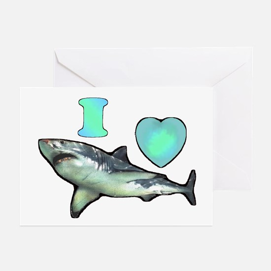 I Love ( Heart ) Sharks  Greeting Cards (Package o