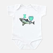 I Love ( Heart ) Sharks  Infant Bodysuit