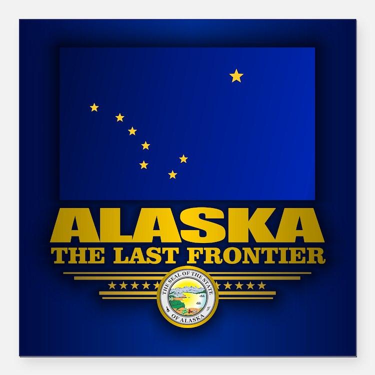 "Alaska Flag Square Car Magnet 3"" x 3"""