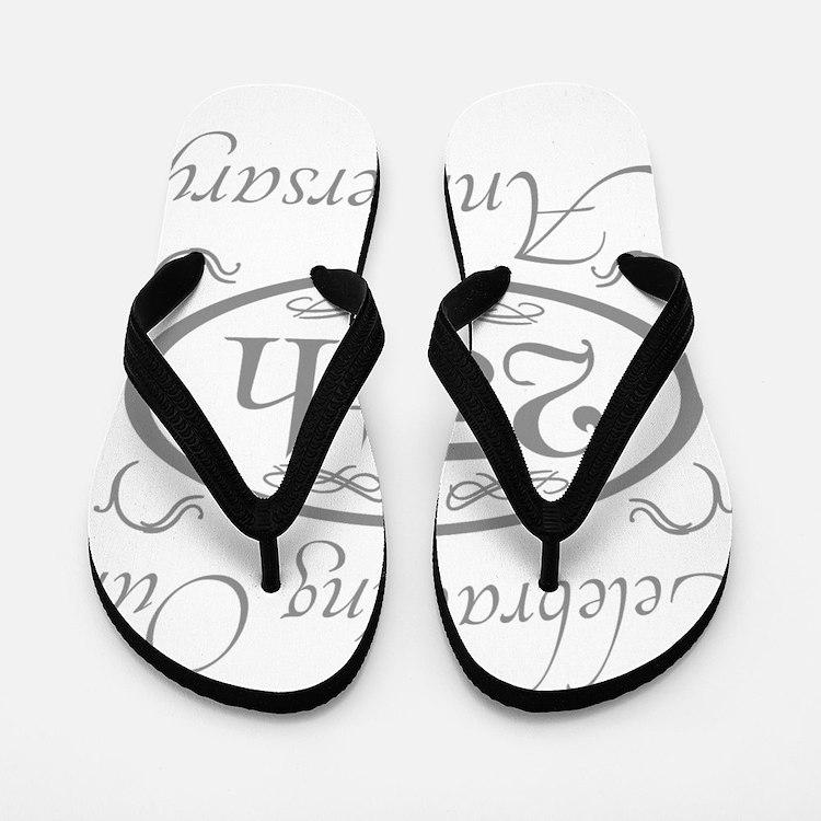 Cute 25th wedding anniversary Flip Flops