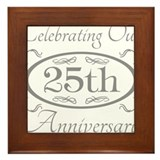 25th wedding anniversary Framed Tiles