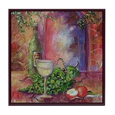 White Wine, Green Grapes Tile Coaster