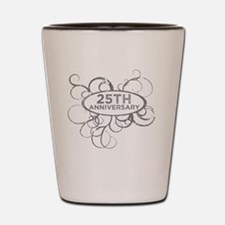 Cute 25th wedding anniversary Shot Glass