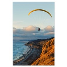 California, La Jolla, Paraglider flying over ocean Poster