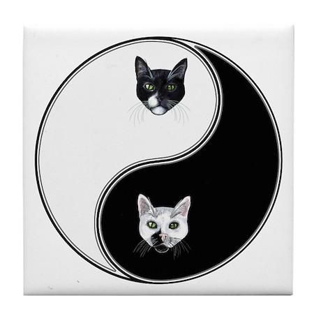 Black Cat & White Cat Yin Yan Tile Coaster