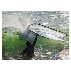Man In The Water Holding Onto Windsurfing Board, C Poster