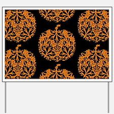 Pumpkin Damask Pattern Yard Sign