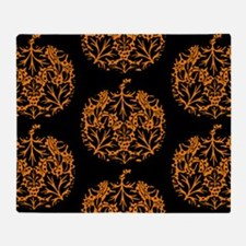 Pumpkin Damask Pattern Throw Blanket