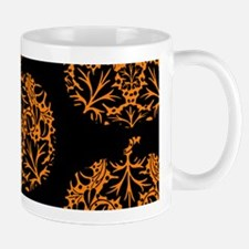 Pumpkin Damask Pattern Mugs