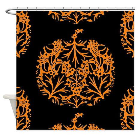 Pumpkin Damask Pattern Shower Curtain By Unfortunateoccasions