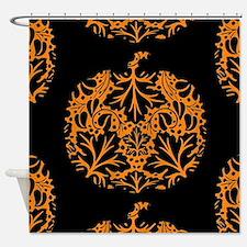 Pumpkin Damask Pattern Shower Curtain