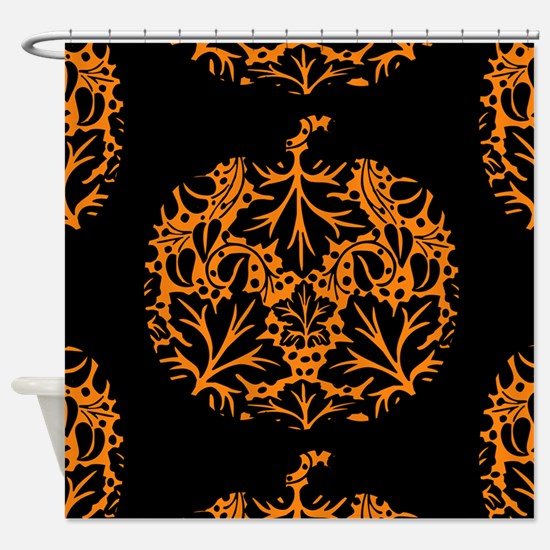 Pumpkin Damask Pattern Shower Curtain