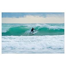 Surfing, Bunker Beach Tarifa Spain Poster