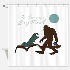 I Love Bigfoot Shower Curtain