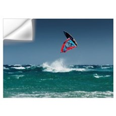 A Windsurfer Flips Upside Down Above The Water Off Wall Decal