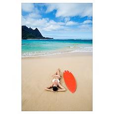 Hawaii, Kauai, Tunnels Beach, Woman Laying On Beac Poster