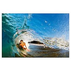 Hawaii, Maui, Makena - Big Beach, Boogie Boarder R Poster