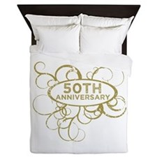 Cute 50th wedding anniversary Queen Duvet