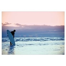 Surfer In The Shallow Water Framed Print