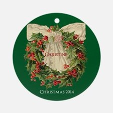 Personalized Victorian Holly Ornament (round)