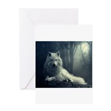 white wolf Greeting Cards