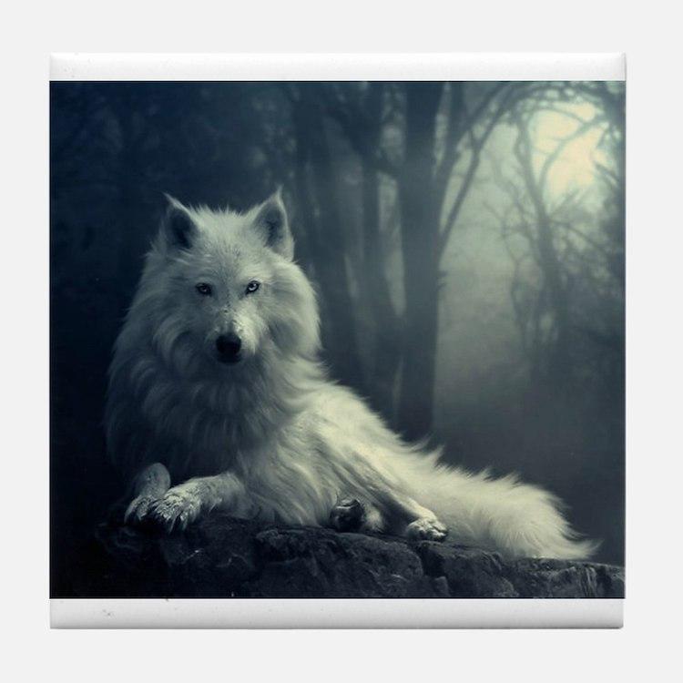 Cute White wolf Tile Coaster