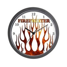 Firefighter Tribal Flames Wall Clock
