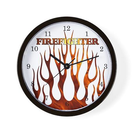 Firefighter Tribal Flames Wall Clock