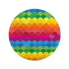 """Waves of Rainbows 3.5"""" Button"""