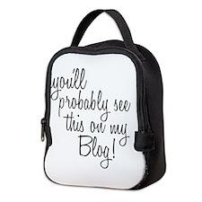 Unique Mommy blog Neoprene Lunch Bag