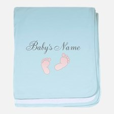 Babys Name and Baby Footprints baby blanket