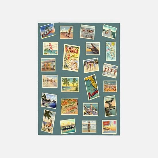 Vintage Florida Seashore Postcards 5'x7'area Rug