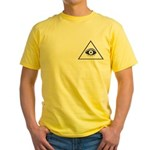 Masonic All Seeing Eye In Pyramid Yellow T-Shirt