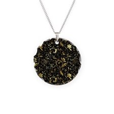 Funny Black damask Necklace