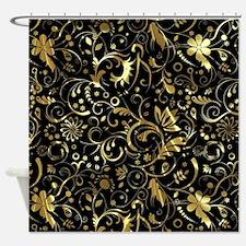 Cute Gold Shower Curtain