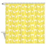Deer On Yellow Shower Curtain